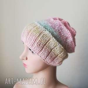 Prezent Pastelowa impresja czapka, rękodzieło, zima, pastele, prezent