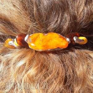 handmade ozdoby do włosów spinka bursztyn tiffany