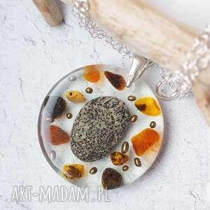 silvella srebrny naszyjnik z żywicą, kamieniem i bursztynami, srebrne, srebro