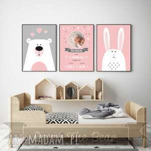 Różowa METRYCZKA ze zdjęciem. Zestaw A4., metryczka, różowy, miś, królik, obrazek,