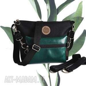 mini torebka modułowa black 4w1 - malachite snake, modułowa, mała