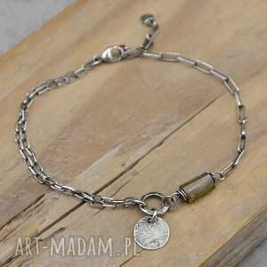 turmalin subtelna srebrna bransoletka 155, turmalin, srebro, oksydowane srebro