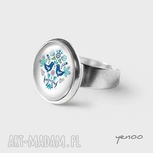 pierścionek - folkowe ptaszki, niebieskie, pierścionek, grafika, regulowany, folkowy