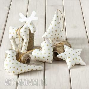 ozdoby choinkowe białe w złote gwiazdki, 5 szt, dekoracje, ozdoba, bombka, renifer