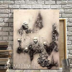 drzewo życia, surrealistyczny obraz, życia, faktura 3d, obraz szary