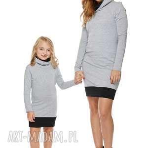 Mama i córka Sukienka dla córki LD1/2, sukienka, dresowa, komin, sciągacz, komplet