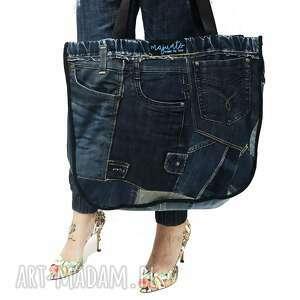duża torba upcykling jeans patchwork zapinana na zamek 55 od majunto