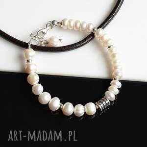 białe perły - bransoletka, perły, srebro, ślub, biała bransoletka