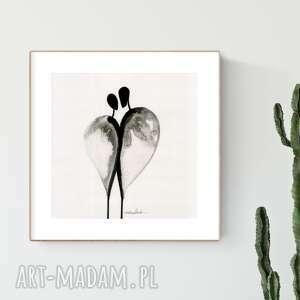 dom grafika 30x30 cm wykonana ręcznie, abstrakcja, obraz do salonu, czarno-biała