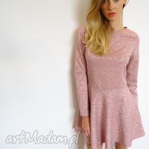 sukienka żakardowa w kolorze pastelowego różu, sukienki, zakard, delikatny