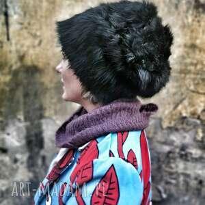 ręcznie zrobione czapki czapka ruska czarna futrzana rozmiar uniwersalny na podszewce