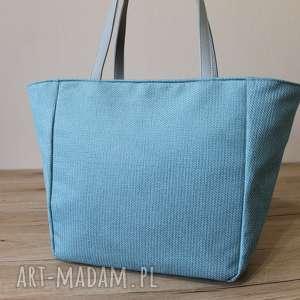 shopper bag - tkanina niebieska i szare rączki, elegancka, nowoczesna, pakowna