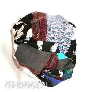 czapki czapka patchworkowa damska dzianina bawełna króliki etno boho