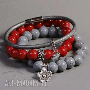 red grey, modne, kuleczki, zawieszki, posrebrzane, kamienie, prezent