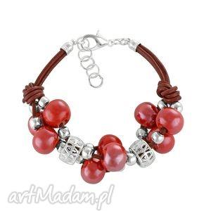 Grapes bracelet - red., rzemień, ceramika