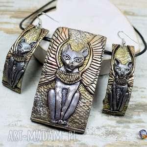 Bastet - komplet biżuterii inspirowany Starożytnym Egiptem, bastet, kot