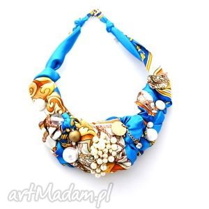 GLAM naszyjnik handmade, naszyjnik, kolorowy, niebieski, turkusowy, złoty