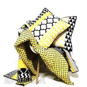 ręcznie robione koce i narzuty komplet s&s narzuta yellow and black 160x210cm 4 poduszki