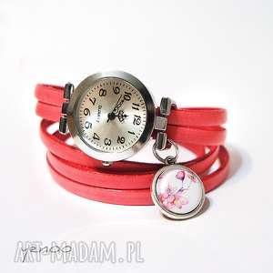 Zegarek, bransoletka - różowe kwiaty różowy, skórzany zegarki