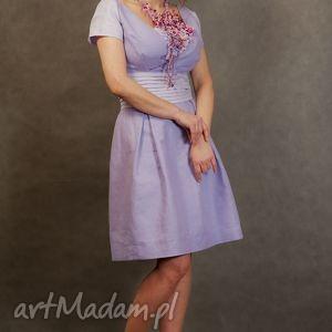 ręcznie wykonane sukienki lniana wrzosowa sukienka