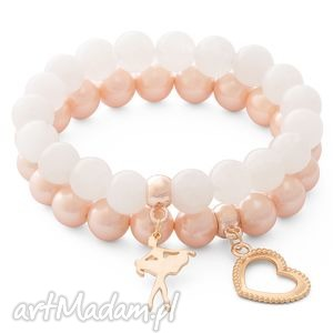 bransoletki valentine apos s day - moon jade salmon pearl - jadeit, perła, baletnica, serce bi 380 uteria
