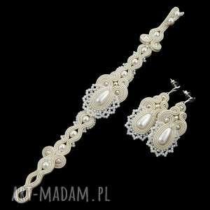 komplet ślubny lace pearl soutache, sutasz, koronka, zestaw,