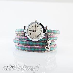 hand-made pomysły na święta prezenty zegarek, bransoletka - kot krata