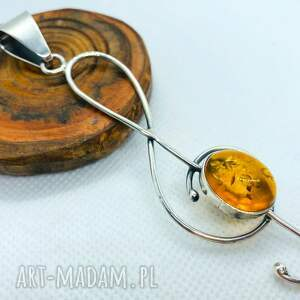 wisiorki klucz wiolinowy srebrny wisior z bursztynem unikat, wisiorek