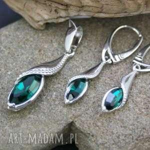 komplet srebrny kryształ wisiorek i kolczyki, komplet, zawieszka