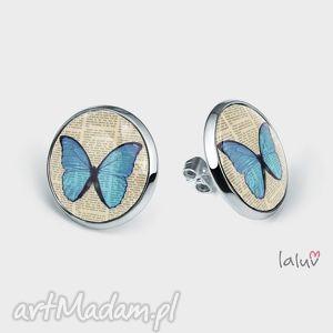 kolczyki sztyfty motylek, owad, motyl, wiosna, lato, grafika, prezent