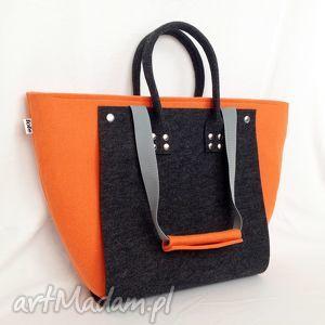 ręcznie zrobione torebki nowość!!! officefelt - duża torba 2w1 grafit pomarańczowy