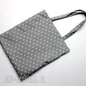 torba bawełniana - serduszka szare i kropeczki fuksjowe, pakowna, zakupy, laptop