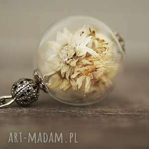 925 Sterling ♥ Wesele w ogrodzie ♥ Naszyjnik - ,ogród,kwiaty,susz,wesele,szkło,srebro,