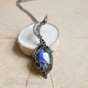 aztec blue moon - naszyjnik z labradorytem niebieskim, miedzi