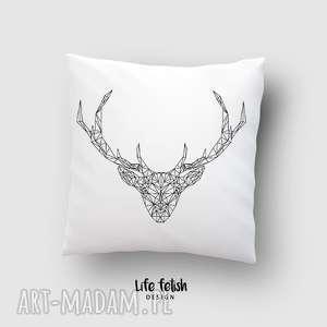 poduszka z jeleniem outline, poduszka, poduszki, dom, jeleń, jelonek, dodatki