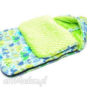 handmade dla dziecka milutka śpiworek do wózka minky 90 cm uniwersalny słoniki na turkusie/jasno