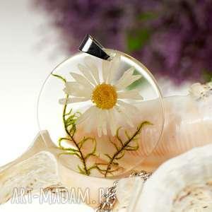 z1300 wisior z prawdziwym kwiatem 5cm, naszyjnik-z-kwiatem, biżuteria-z-żywicy
