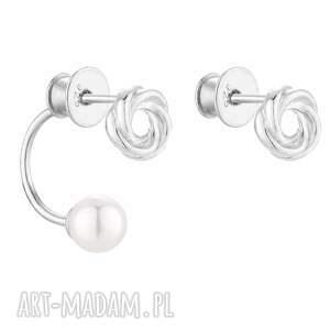 srebrne asymetryczne kolczyki węzełki z perłami swarovski®