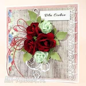 Kartka czerwone róże, kartka, życzenia, scrapbooking