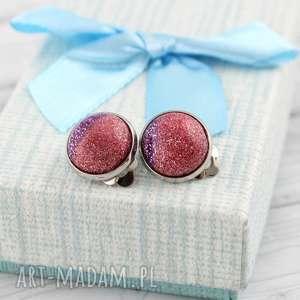 Klipsy Glitter Róż Fiolet - ,klipsy,lekkie,brokatowe,na-imprezę,prezent,walentynki,