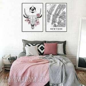 zestaw 2 plakatów #8 a3 - 29 7x42 0cm, obraz, plakat, nowy jork, czacha