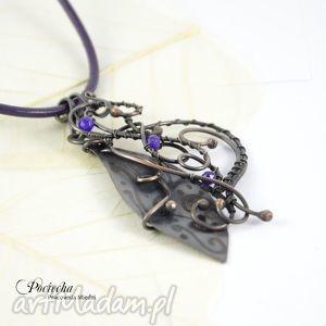 duo in violet - naszyjnik z dwoma wisiorkami, naszyjnik, wisior, wisiorki, retro
