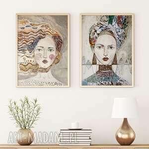 zestaw 2 plakatów 100x70 cm - twarze, plakat, wydruk, twarz, kobieta, postać