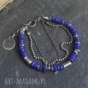 bransoletka ze srebra z lapisem lazuli, metaloplastyka, srebro oksydowane, biżuteria