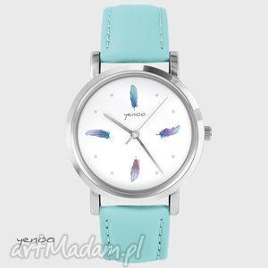 zegarek, bransoletka - kolorowe piórka turkusowy, skórzany, skórzany