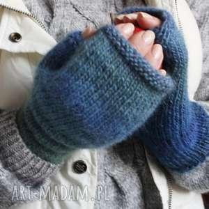 hand made rękawiczki mitenki niebieskie ombre