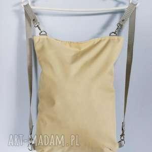 plecako torebka cordura beżowa - ,plecak,torebka,oversize,cordura,wodoodporna,torba,