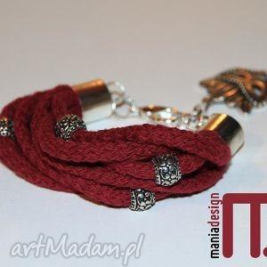 bordowa bransoletka ze sznurków bawełnianych, maska, wenecka, retro, prezent, modny