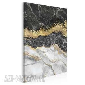 obraz na płótnie - marmur złoto czarny elegancki w pionie 50x70 cm 98503