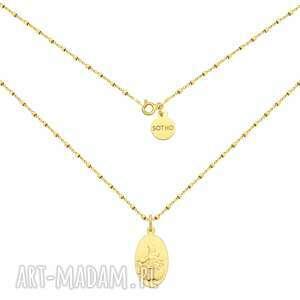 złoty naszyjnik z medalikiem - żółtezłoto, łańcuszek